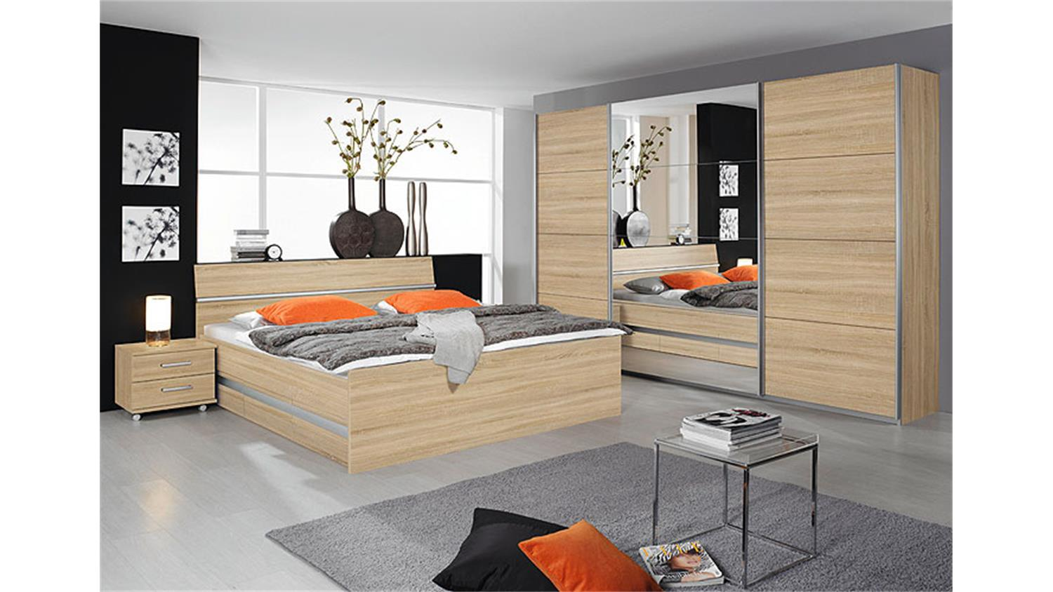 bett apulien schlafzimmerbett in sonoma eiche s gerau 160. Black Bedroom Furniture Sets. Home Design Ideas