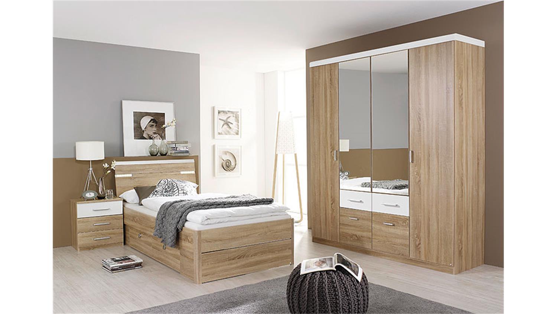 bett rasa sonoma eiche s gerau wei mit beleuchtung 100. Black Bedroom Furniture Sets. Home Design Ideas