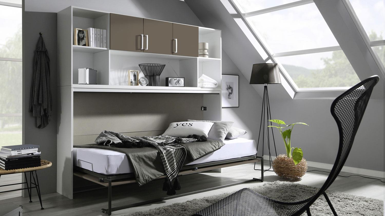Schrankbett Albero Kleiderschrank Bettuberbau In Weiss Lavagrau 90x200