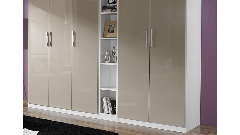 kleiderschrank modena sandgrau hochglanz wei 260 cm. Black Bedroom Furniture Sets. Home Design Ideas