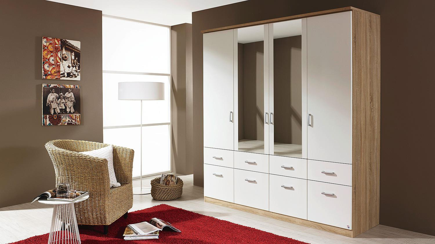 kleiderschrank bremen schrank sonoma eiche wei spiegel 181. Black Bedroom Furniture Sets. Home Design Ideas