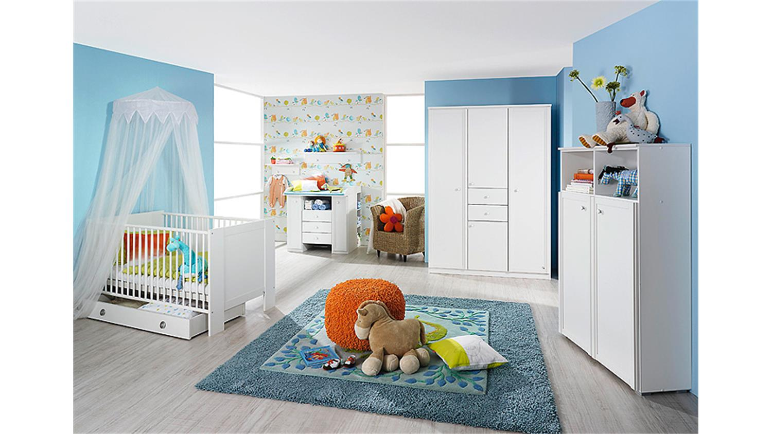 babyzimmer set leni komplett kinderzimmer in wei 5 teilig. Black Bedroom Furniture Sets. Home Design Ideas