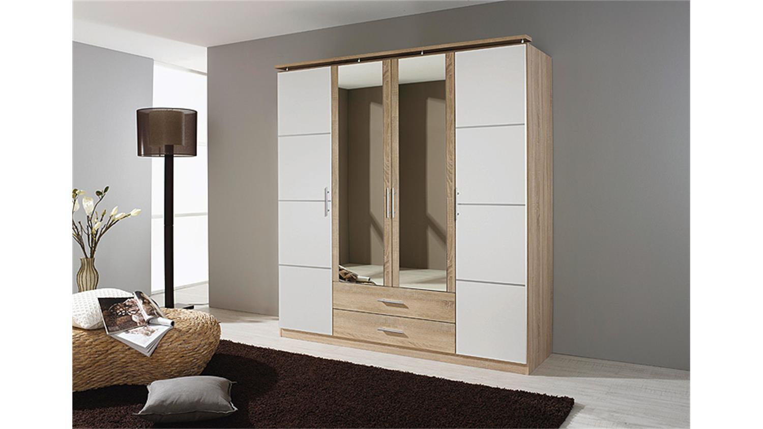 kleiderschrank micro wei sonoma eiche mit spiegel 181 cm. Black Bedroom Furniture Sets. Home Design Ideas