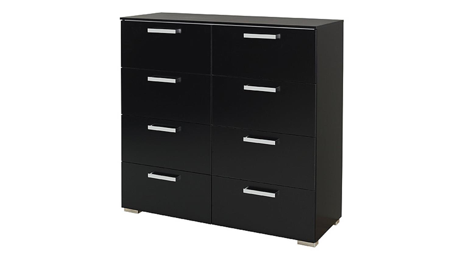 kommode 6 schubkastenkommode calero in schwarz und chrom. Black Bedroom Furniture Sets. Home Design Ideas