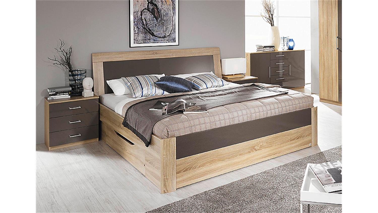 bett arona sonoma eiche lava hochglanz bettkasten 180x200. Black Bedroom Furniture Sets. Home Design Ideas