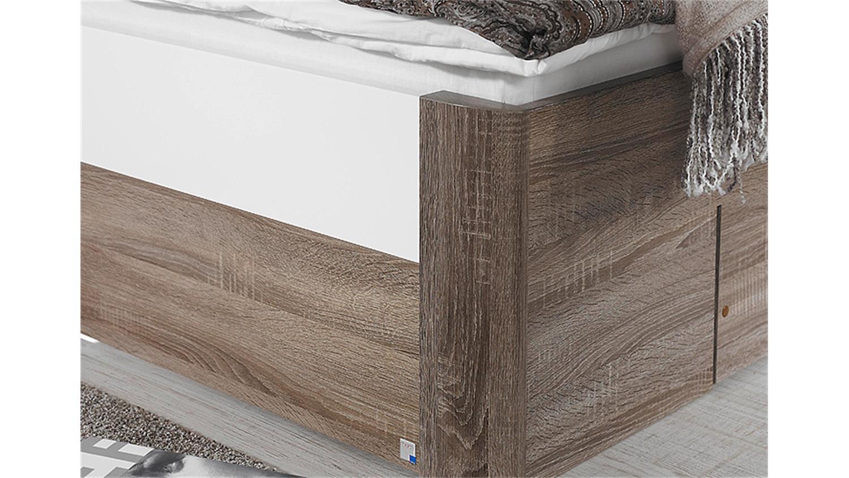 bett arona havanna eiche wei hochglanz bettkasten 100x200. Black Bedroom Furniture Sets. Home Design Ideas
