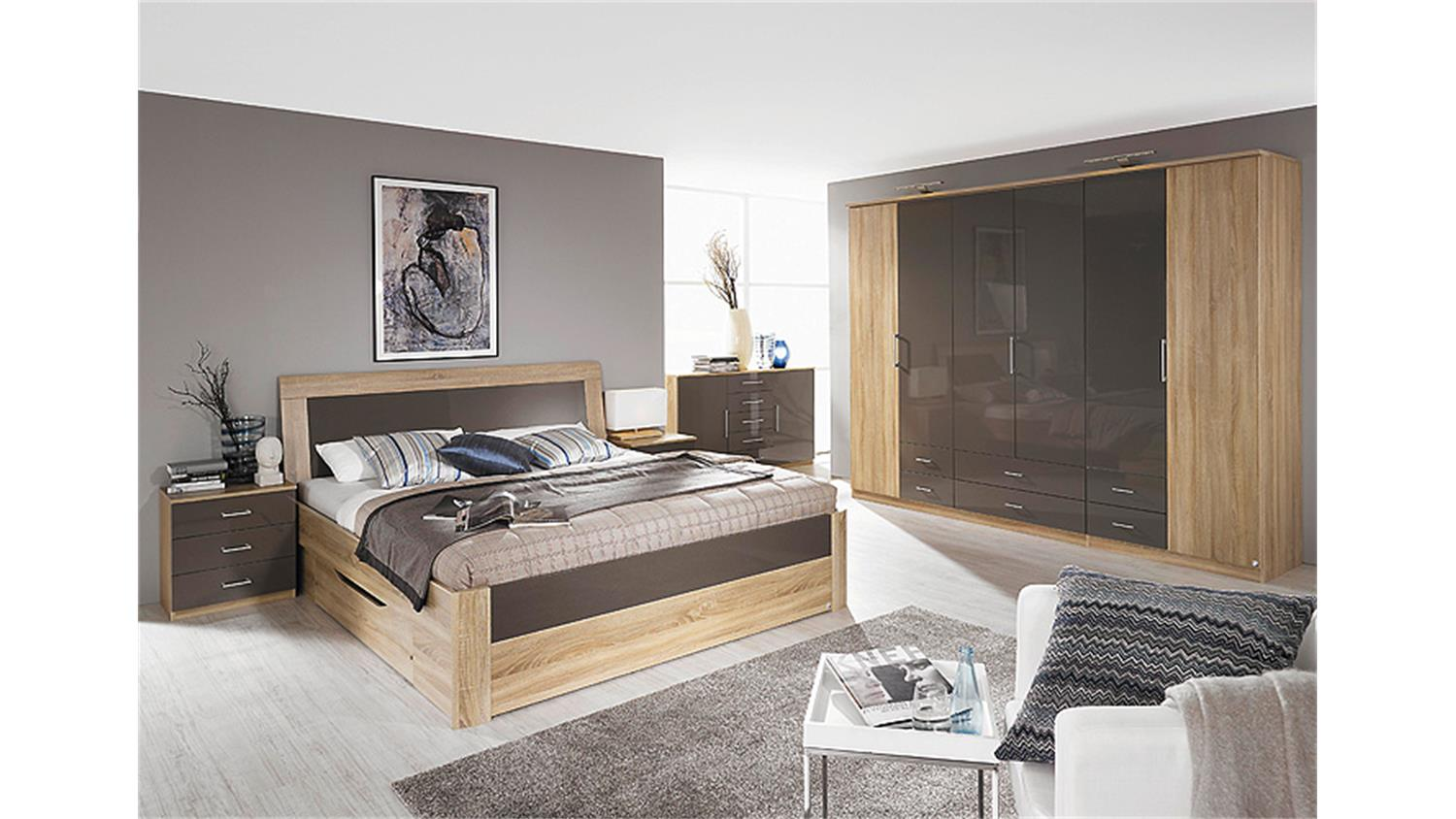 schlafzimmer set arona sonoma eiche und lava hochglanz 4 tlg. Black Bedroom Furniture Sets. Home Design Ideas