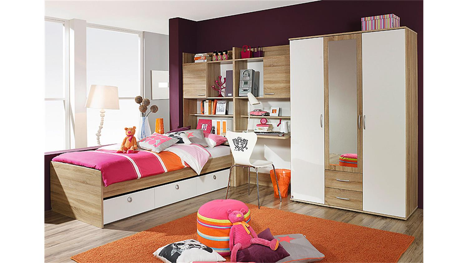jugendzimmer set 4 emilio sonoma eiche und wei 5 tlg. Black Bedroom Furniture Sets. Home Design Ideas