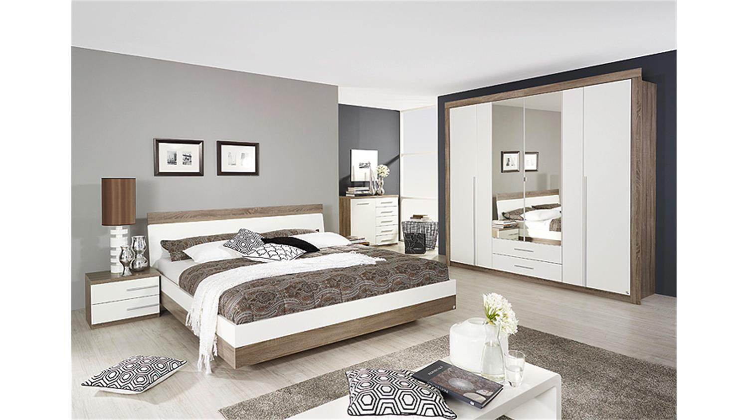 schlafzimmer set burgos havanna eiche und wei 4 tlg. Black Bedroom Furniture Sets. Home Design Ideas