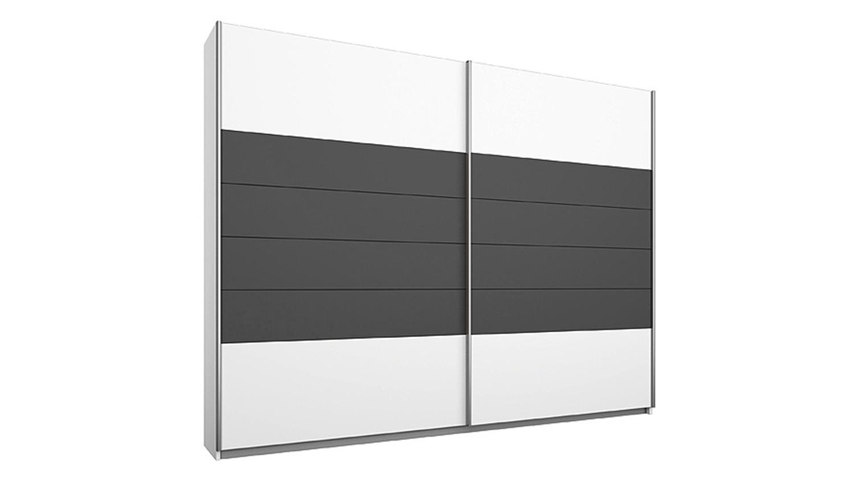Schwebeturenschrank Barcelona Weiss Grau Metallic 226 Cm