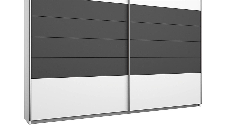 Schwebetürenschrank weiß grau  BARCELONA Weiß Grau-Metallic 226 cm