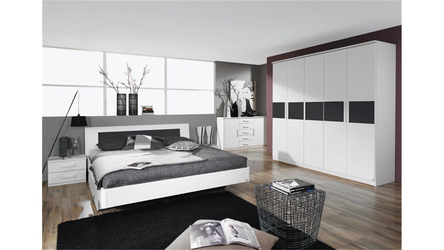 schlafzimmer narbonne bett schrank nako in wei und basalt. Black Bedroom Furniture Sets. Home Design Ideas