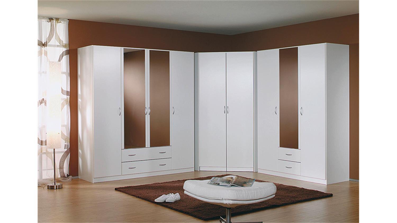 Eckkleiderschrank weiß mit spiegel  Eckschrank CASE Kleiderschrank Schrank in Alpinweiß 117 cm