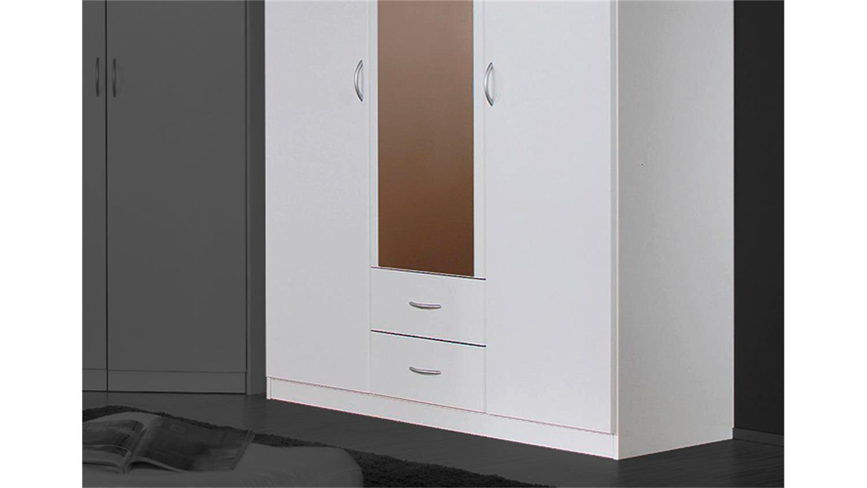 kleiderschrank case schrank in wei mit spiegel 136 cm. Black Bedroom Furniture Sets. Home Design Ideas