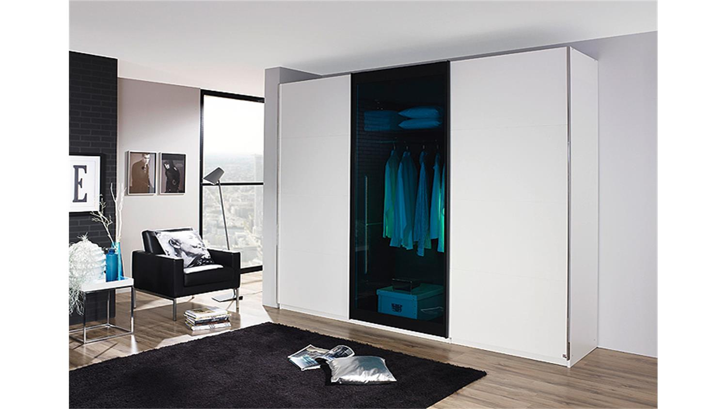 schwebet renschrank lahti wei petrol glas 270 cm. Black Bedroom Furniture Sets. Home Design Ideas