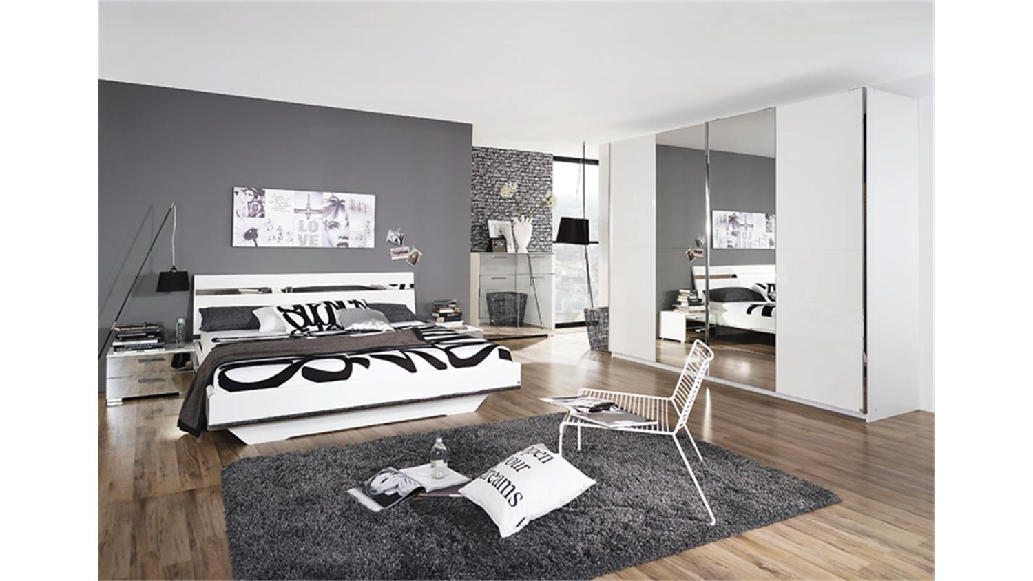 bett denia wei hochglanz chrom spiegel 180x200. Black Bedroom Furniture Sets. Home Design Ideas