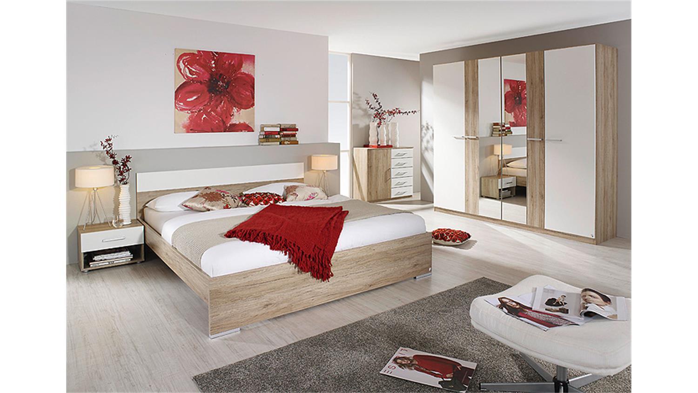 Schlafzimmer BADALONA San Remo Eiche hell Weiß