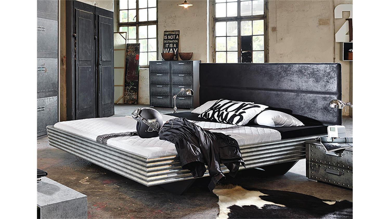 bett workbase schwarz wellenform industrieoptik 140. Black Bedroom Furniture Sets. Home Design Ideas