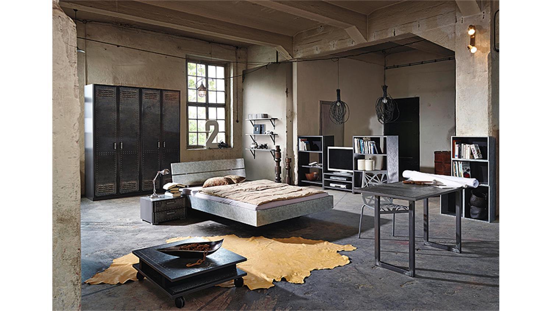 Bett workbase doppelbett in silber industrieoptik 180 cm for Bett industrial