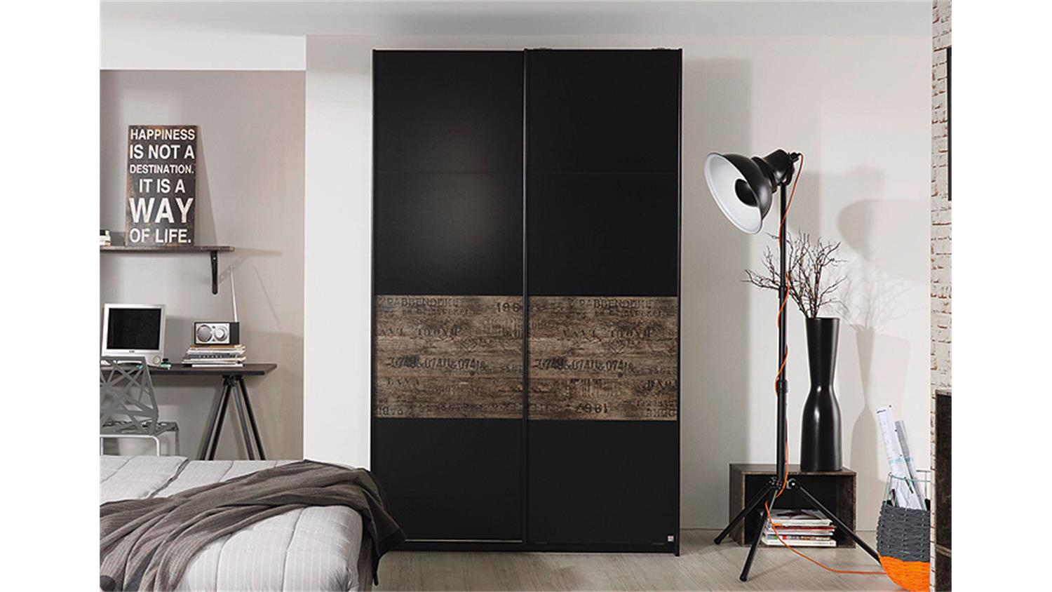 schwebet renschrank sumatra schwarz vintage braun 136. Black Bedroom Furniture Sets. Home Design Ideas