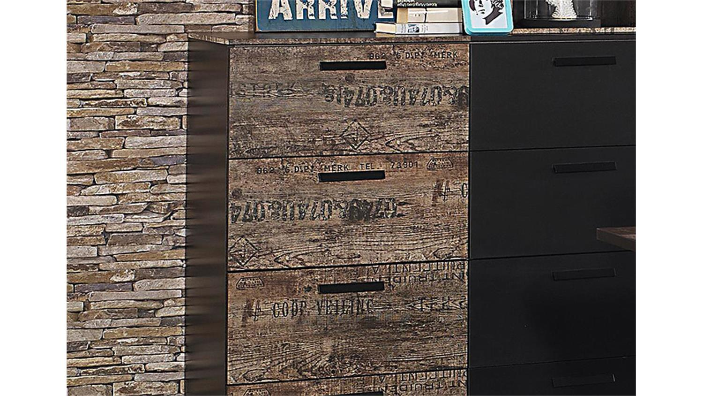 Kommode schwarz vintage  SUMATRA Sideboard in schwarz und Vintage braun