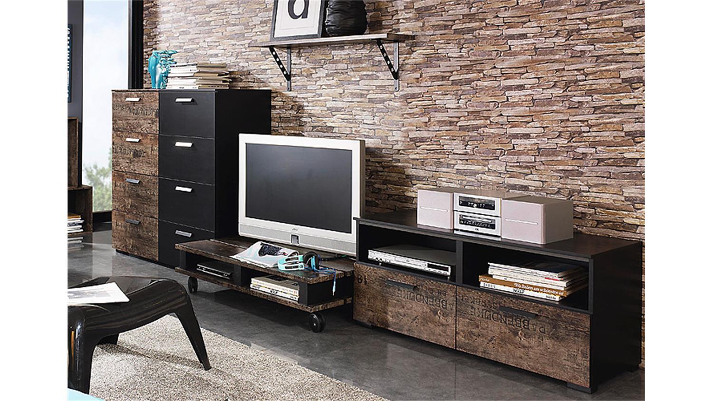 Wohnkombi sumatra wohnwand in schwarz und vintage braun for Wohnwand braun schwarz