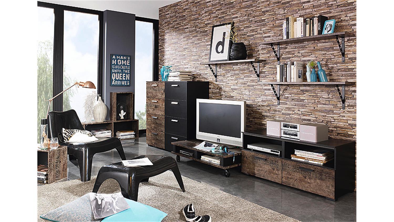 Wohnkombi sumatra wohnwand in schwarz und vintage braun for Wohnwand in schwarz