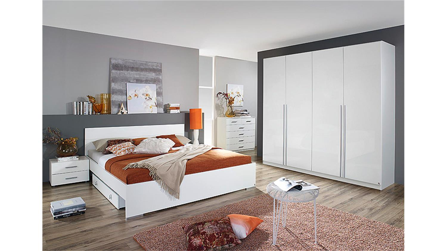 schlafzimmerset lorca schlafzimmer in wei hochglanz dekor. Black Bedroom Furniture Sets. Home Design Ideas