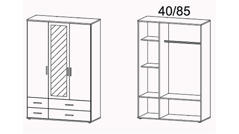 Kleiderschrank Rasant Extra 3 Trg Weiß Grau Metallic Spiegel 127 Cm