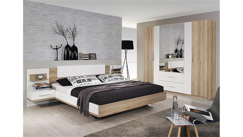 schlafzimmer set bustas eiche sanremo hell und wei. Black Bedroom Furniture Sets. Home Design Ideas