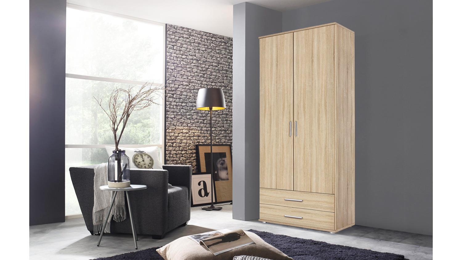 kleiderschrank rasant dreht renschrank 2 t rig in eiche sonoma 85 cm. Black Bedroom Furniture Sets. Home Design Ideas