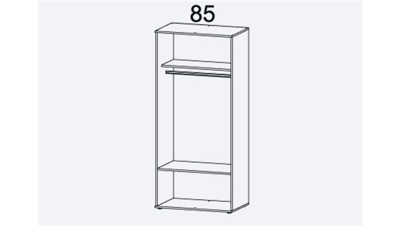 Kleiderschrank Rasant Extra 2 Trg Eiche Grau Spiegel 85