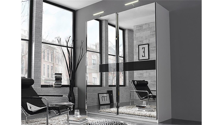 Schwebetürenschrank spiegelfront  BAYAMO weiß Spiegel Glas schwarz B 181