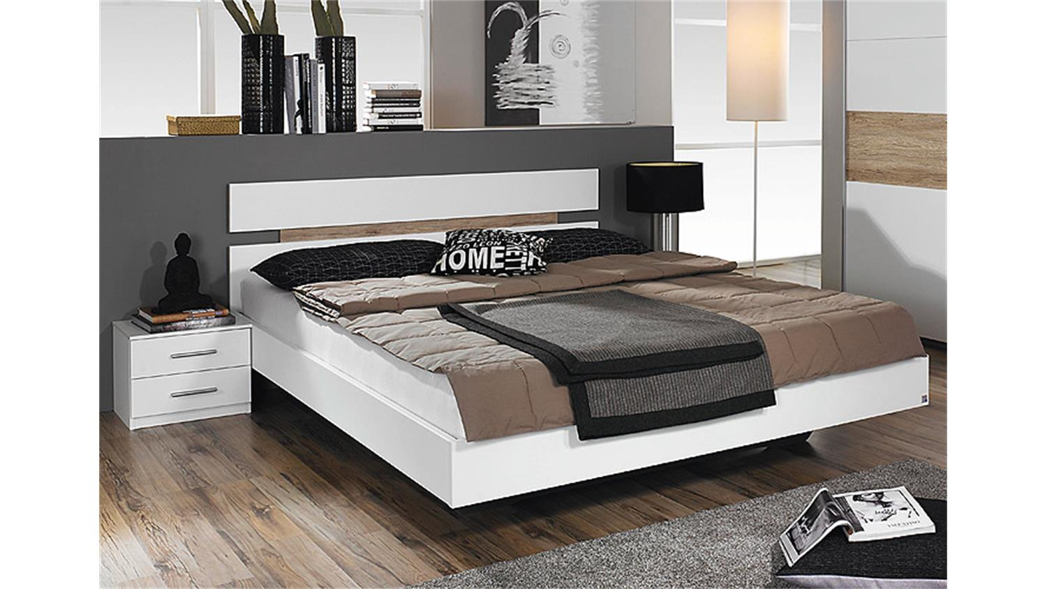 bettanlage 2 almada wei eiche sanremo hell 180x200 cm. Black Bedroom Furniture Sets. Home Design Ideas