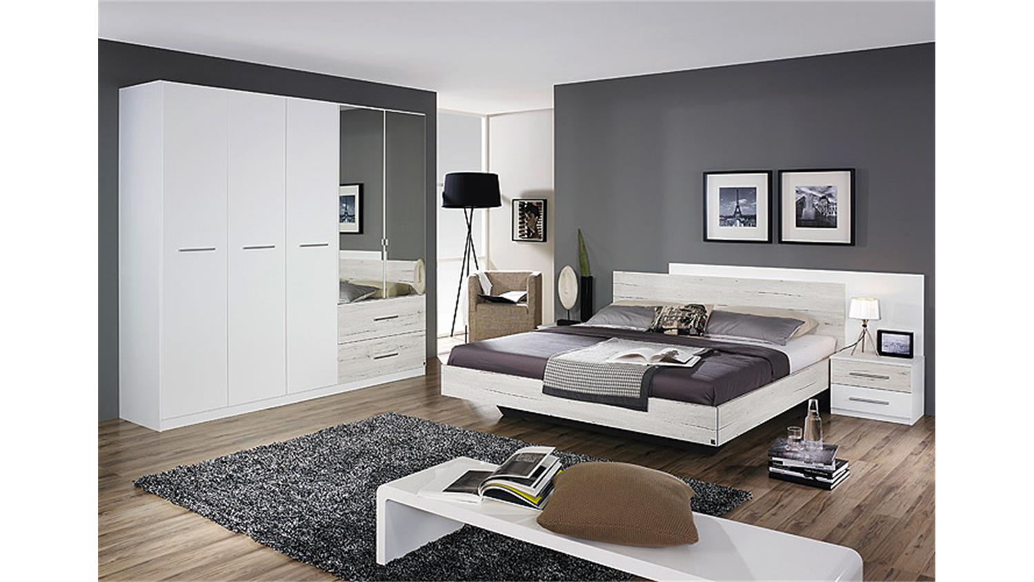 schlafzimmer saragossa wei und eiche sanremo wei. Black Bedroom Furniture Sets. Home Design Ideas