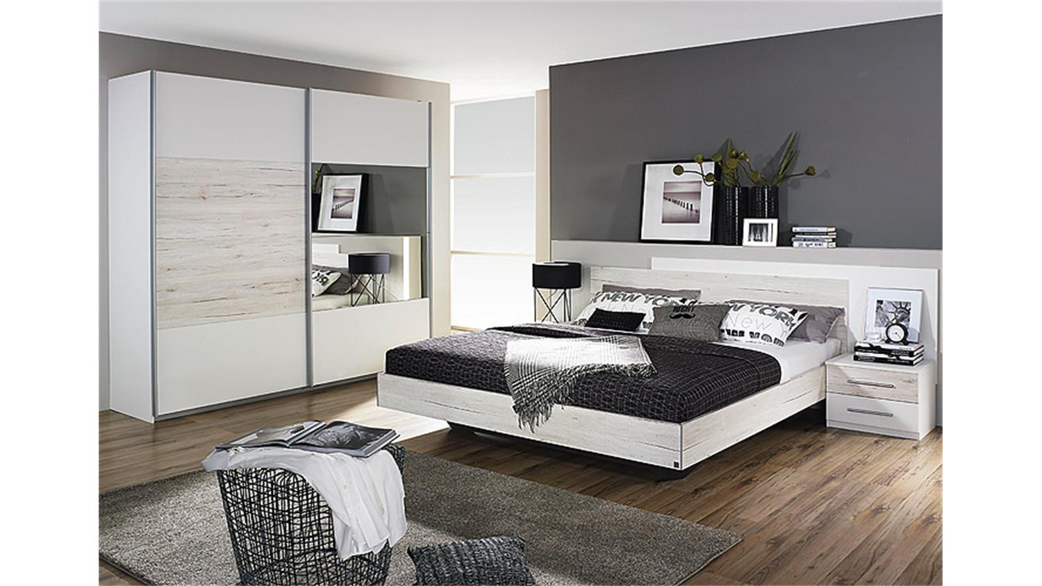 schlafzimmer 2 saragossa wei und eiche sanremo wei. Black Bedroom Furniture Sets. Home Design Ideas