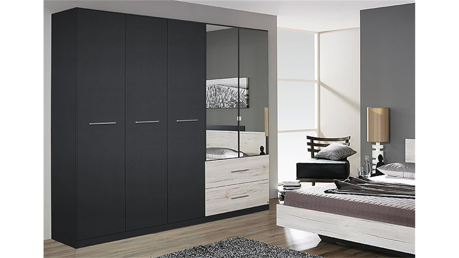 kleiderschrank saragossa grau metallic eiche sanremo wei. Black Bedroom Furniture Sets. Home Design Ideas