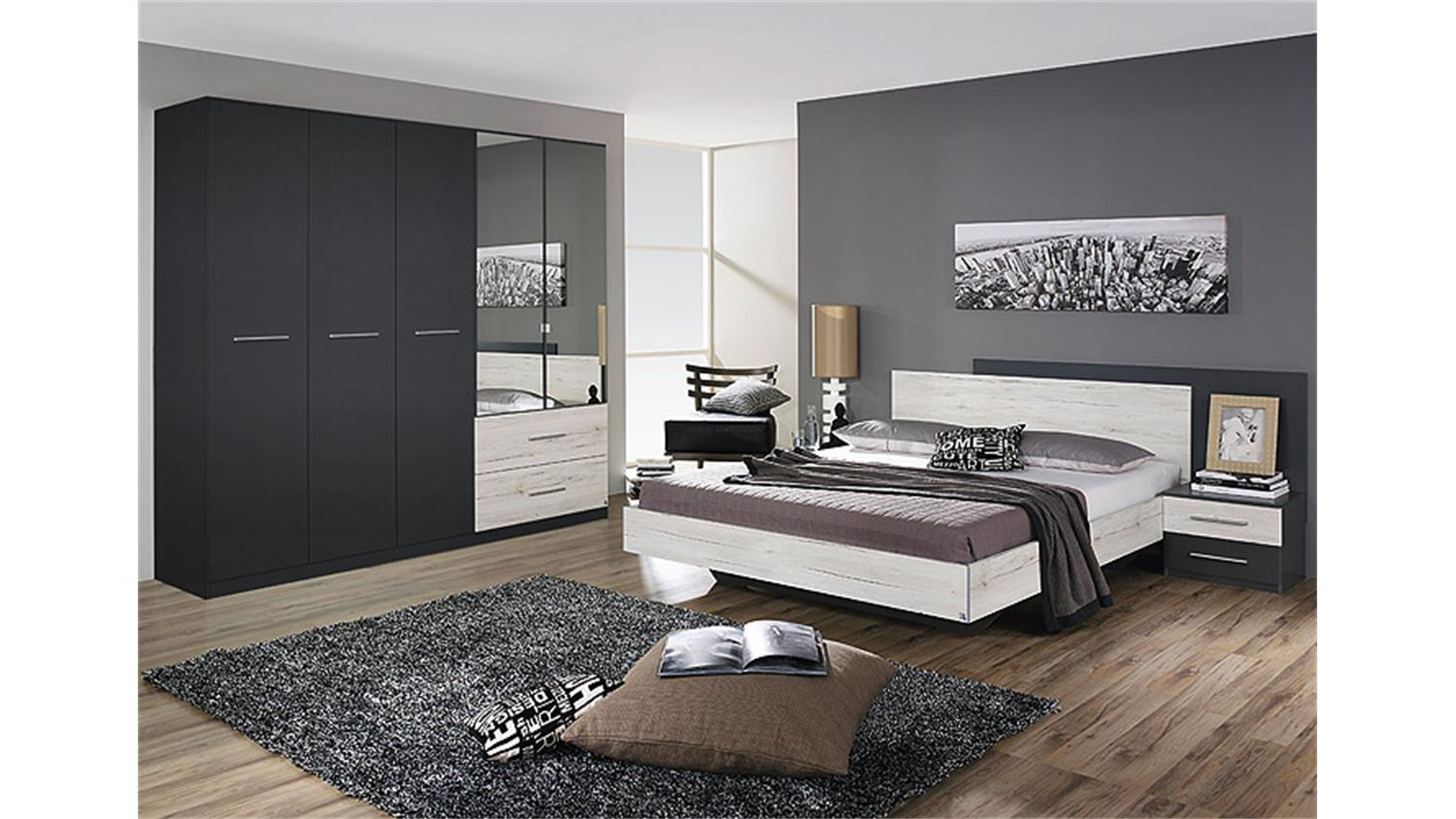 schlafzimmer saragossa grau metallic eiche sanremo wei. Black Bedroom Furniture Sets. Home Design Ideas
