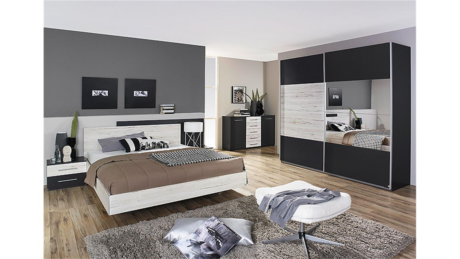 schlafzimmer 2 saragossa grau metallic eiche sanremo wei. Black Bedroom Furniture Sets. Home Design Ideas