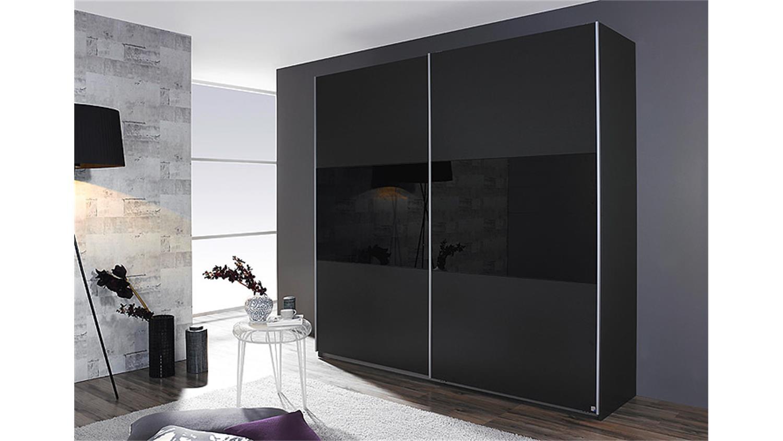 Schwebetürenschrank schwarz  LORIGA Grau Glas Schwarz 218 cm