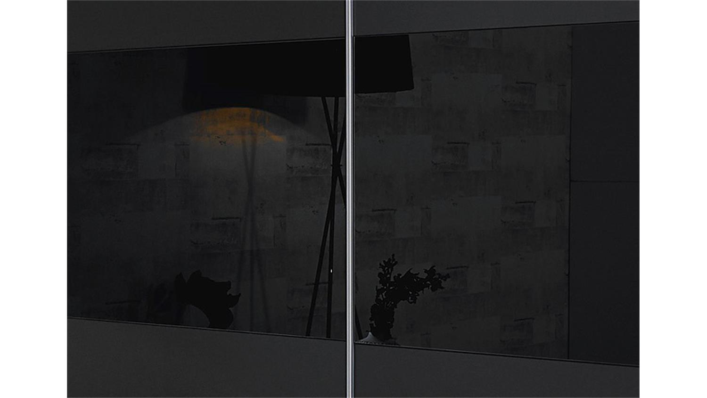 Schwebetürenschrank grau schwarz  LORIGA Grau Glas Schwarz 218 cm