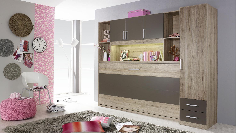 schrankbett albero 90x200cm eiche lavagrau klappbett. Black Bedroom Furniture Sets. Home Design Ideas