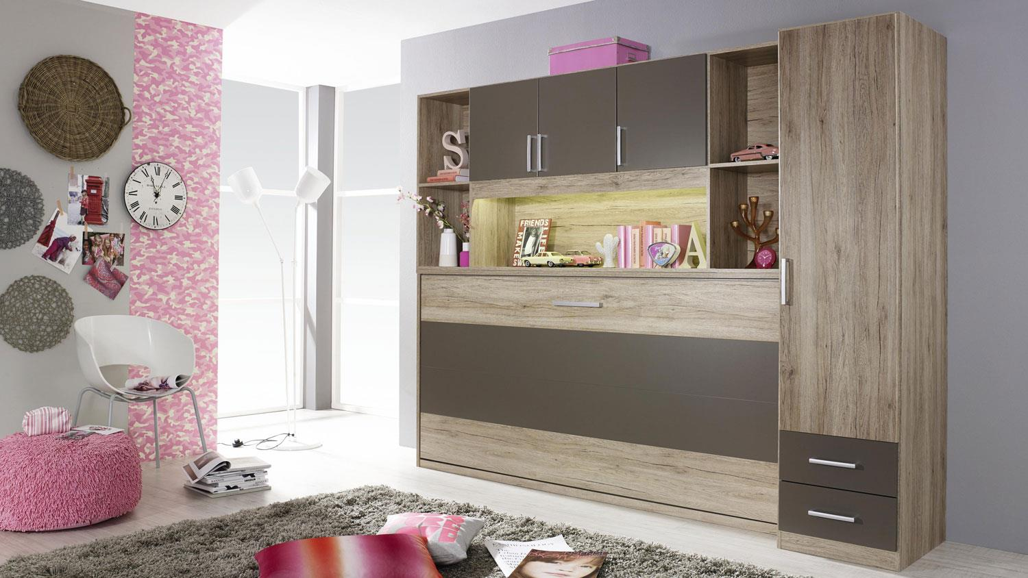 schrankbett albero mit regal kleiderschrank bett berbau eiche lava. Black Bedroom Furniture Sets. Home Design Ideas