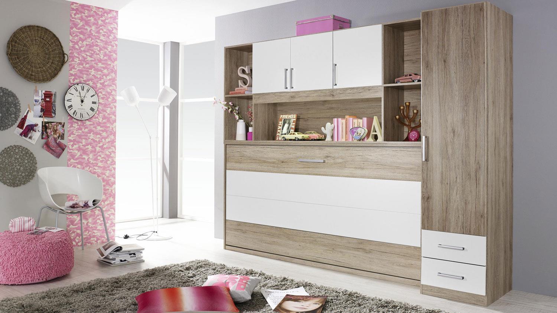 schrankbett albero mit regal kleiderschrank bett berbau eiche wei. Black Bedroom Furniture Sets. Home Design Ideas