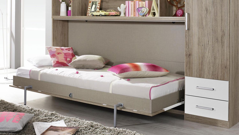 ALBERO mit Regal & Kleiderschrank Bettüberbau Eiche Weiß