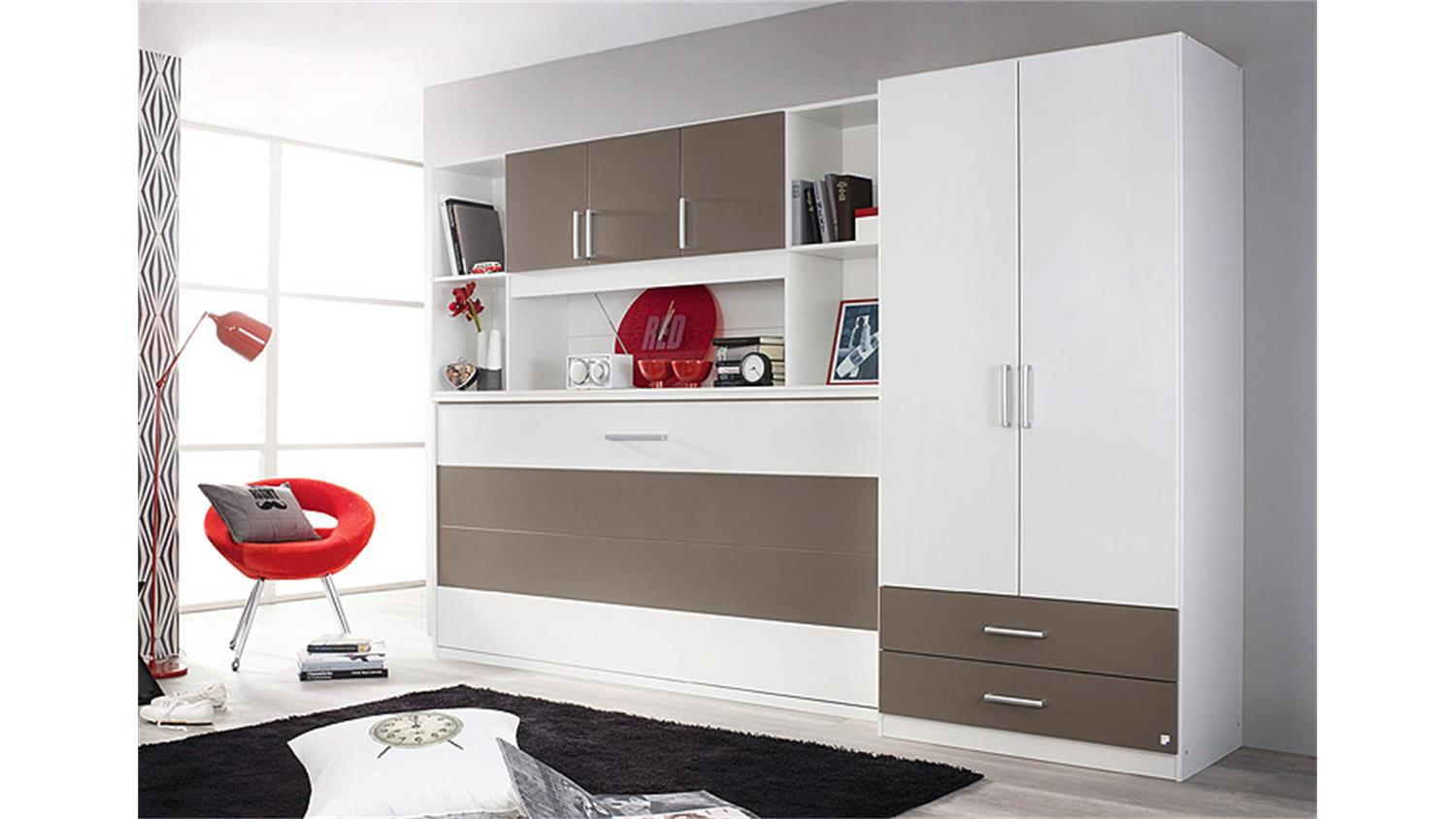 klappbett set albero wei und lavagrau 90x200 cm. Black Bedroom Furniture Sets. Home Design Ideas
