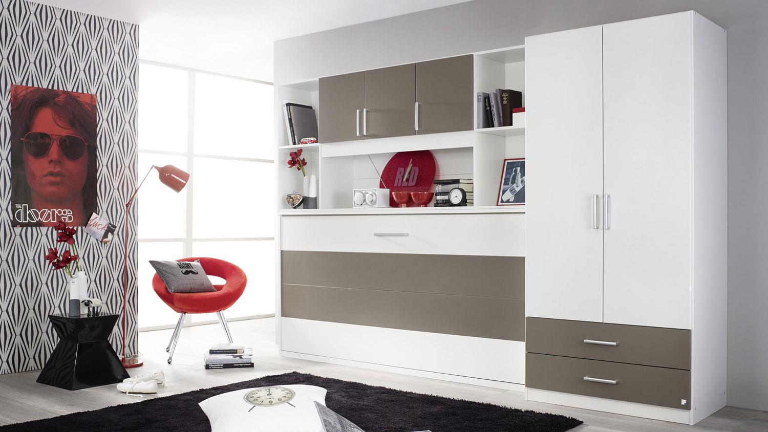 schrankbett albero kleiderschrank bett berbau in wei lavagrau 90x200. Black Bedroom Furniture Sets. Home Design Ideas