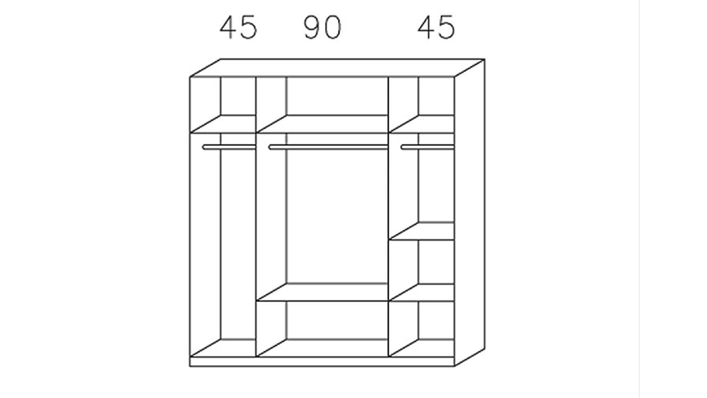 Kleiderschrank DORTMUND Weiß Glasauflage Basalt 181 cm