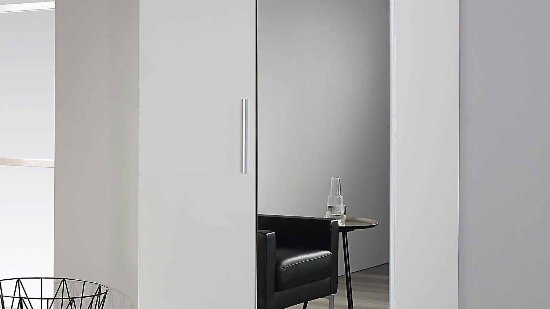garderobenschrank minosa kleiderschrank in wei hochglanz. Black Bedroom Furniture Sets. Home Design Ideas