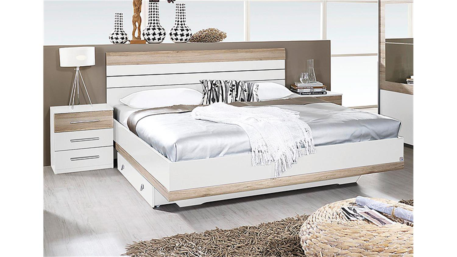 bettanlage tarragona wei eiche sanremo hell 180x200 cm. Black Bedroom Furniture Sets. Home Design Ideas
